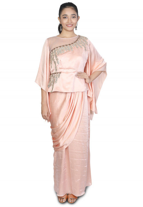 Embroidered Modal Satin Cowl Style Gown in Peach