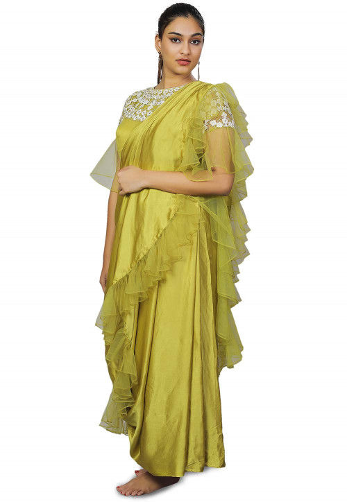 Hand Embroidered Modal Satin Gown with Dupatta in Light Olive Green