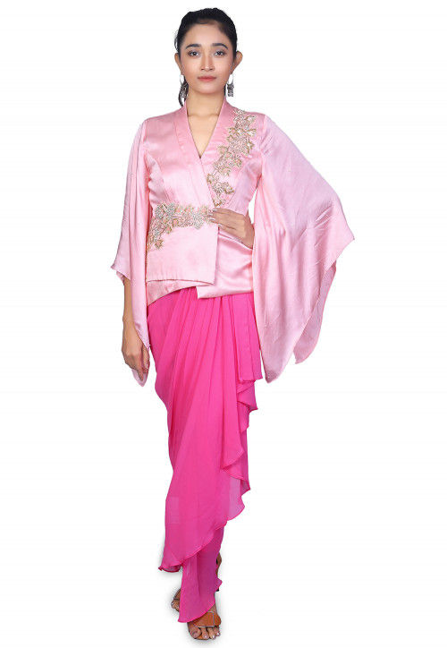 Embroidered Modan Satin Drape Style Gown in Pink