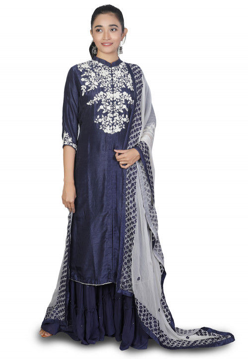 Hand Embroidered Mysore Silk Pakistani Suit in Navy Blue