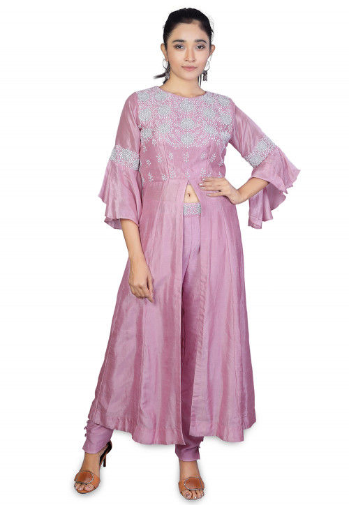 Embroidered Mysore Silk Pakistani Suit in Pink