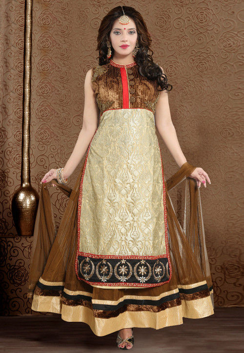 Hand Embroidered Net Abaya Style Suit in Brown and Beige