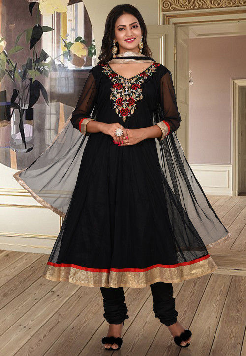 Hand Embroidered Net Anarkali Suit in Black
