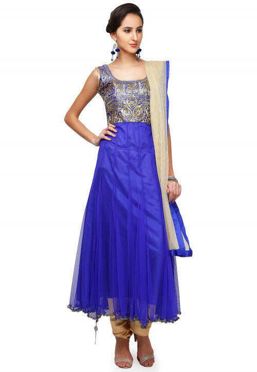 Hand Embroidered Net Anarkali Suit in Blue