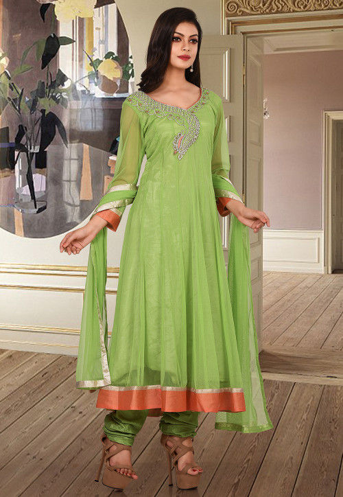 Hand Embroidered Net Anarkali Suit in Light Green