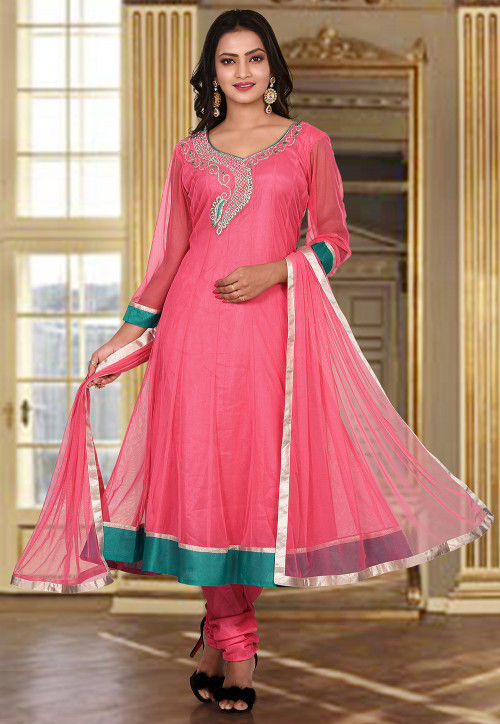 Hand Embroidered Net Anarkali Suit in Pink