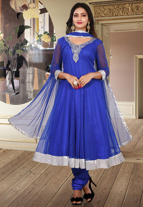 Hand Embroidered Net Anarkali Suit in Royal Blue
