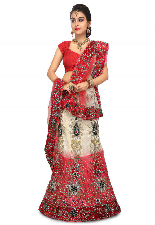 Hand Embroidered Net Lehenga in Cream and Light Pink