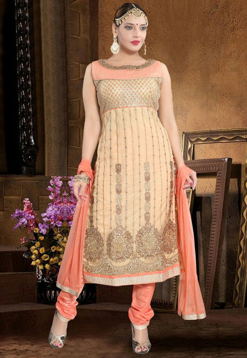 Hand Embroidered Net Straight Suit in Beige and Peach