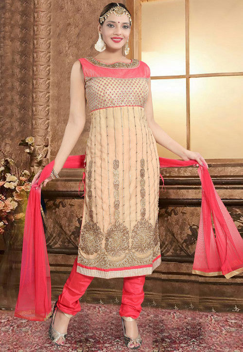 Hand Embroidered Net Straight Suit in Beige and Pink