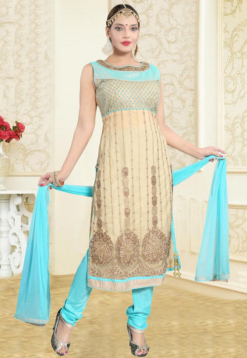 Hand Embroidered Net Straight Suit in Beige and Sky Blue