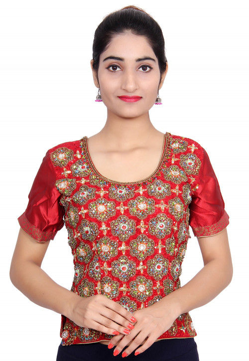 Hand Embroidered Pure Crepe Top in Maroon