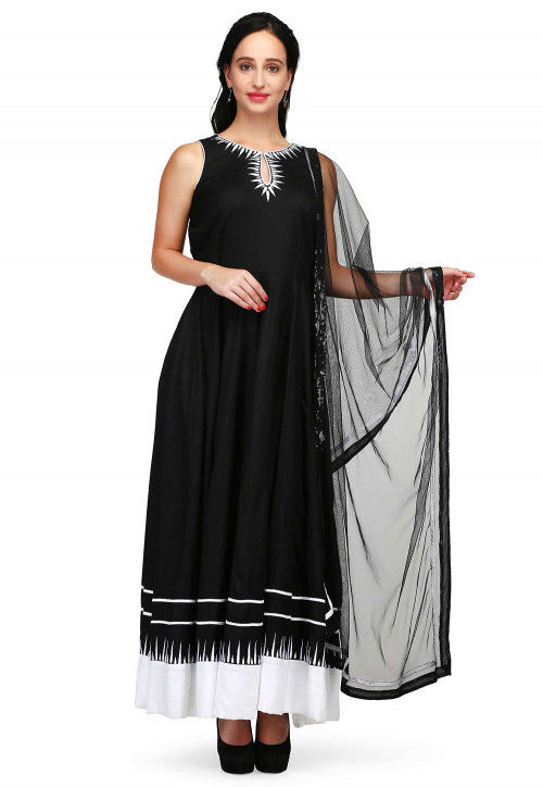 Hand Embroidered Rayon Anarkali Suit in Black