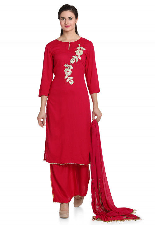 Hand Embroidered Rayon Pakistani Suit in Magenta