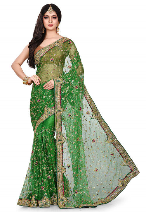 Hand Embroidered Shimmer Net Saree in Green