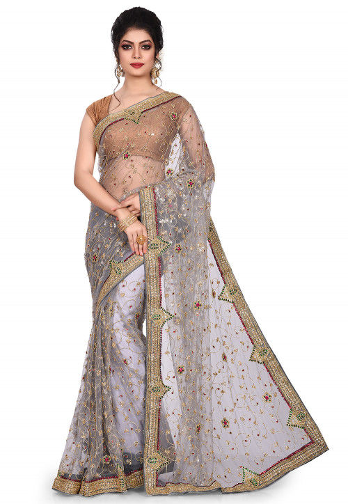 Hand Embroidered Shimmer Net Saree in Grey
