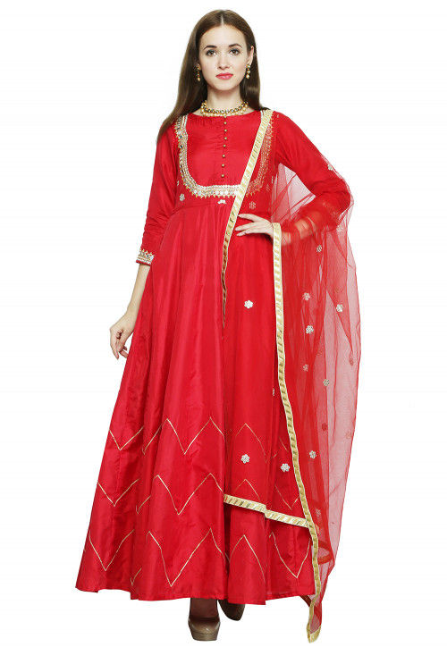 Hand Embroidered Taffeta Abaya Style Suit in Red