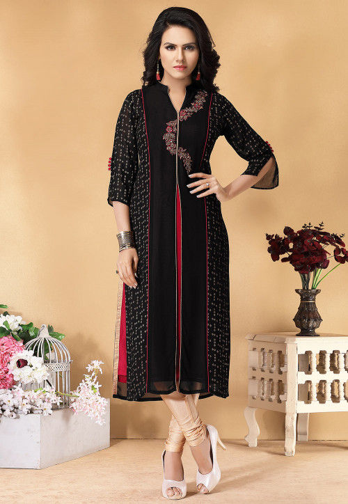 Hand Embroidered Viscose Georgette Kurta in Black and Red