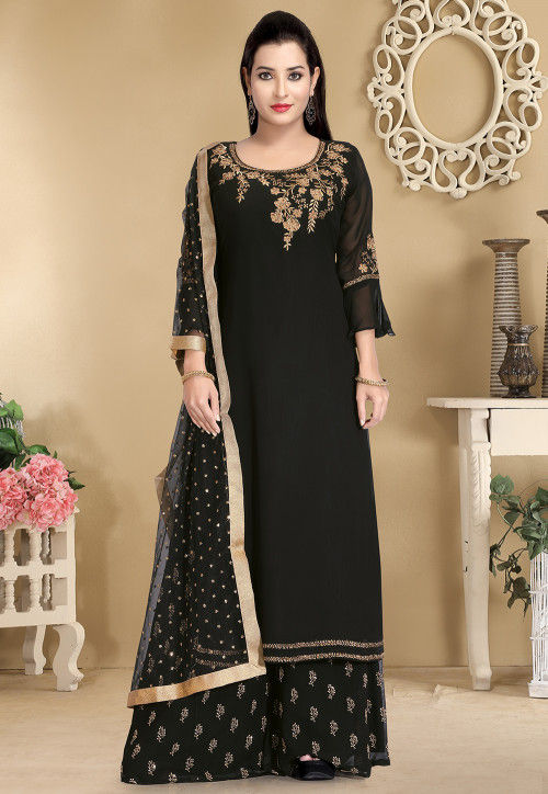 Hand Embroidered Viscose Georgette Pakistani Suit in Black