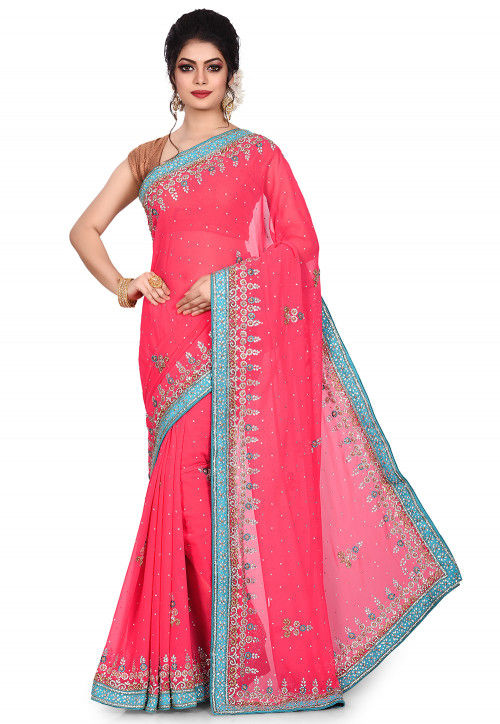 Hand Embroidered Viscose Georgette Saree in Coral Pink