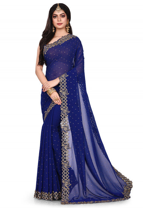 Hand Embroidered Viscose Georgette Saree in Navy Blue