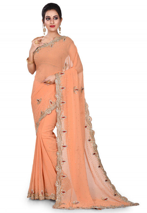 Hand Embroidered Viscose Georgette Saree in Peach