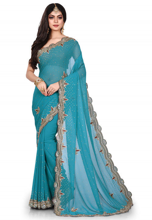 Hand Embroidered Viscose Georgette Saree in Teal Blue