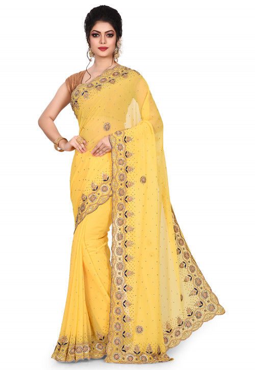 Hand Embroidered Viscose Georgette Saree in Yellow