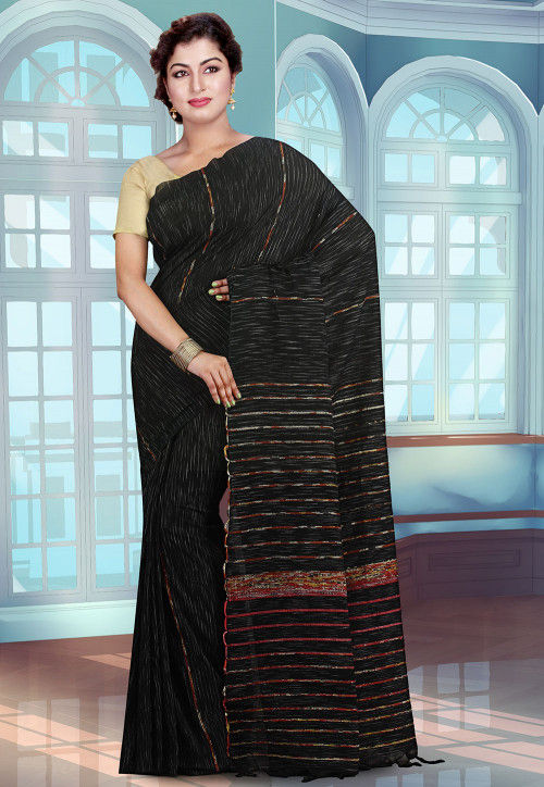 Handloom Cotton Saree in Black