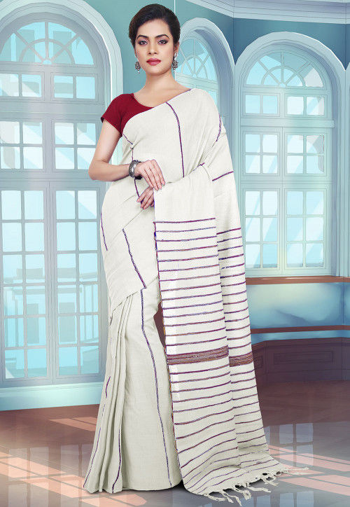 Handloom Cotton Saree in Off White