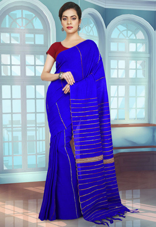 Handloom Cotton Saree in Royal Blue