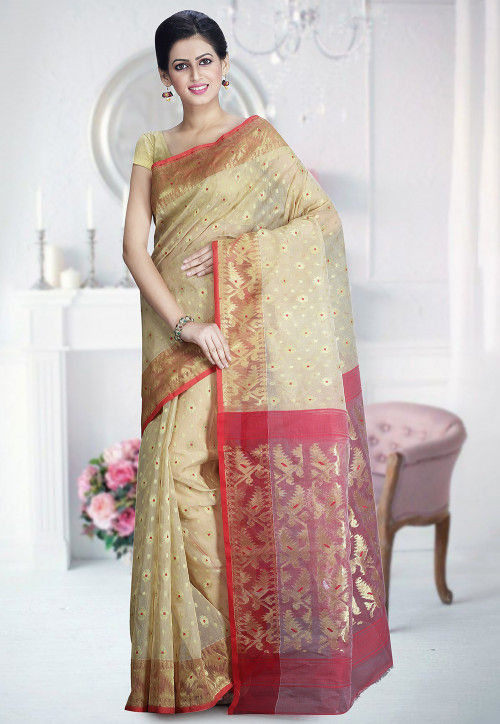 Handloom Cotton Silk Jamdani Saree in Beige