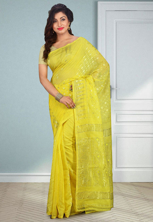 Handloom Cotton Silk Jamdani Saree in Yellow