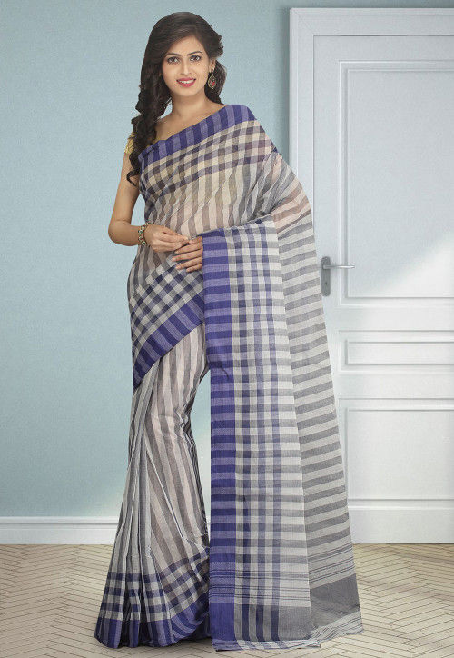 Handloom Cotton Silk Tant Saree in Light Grey