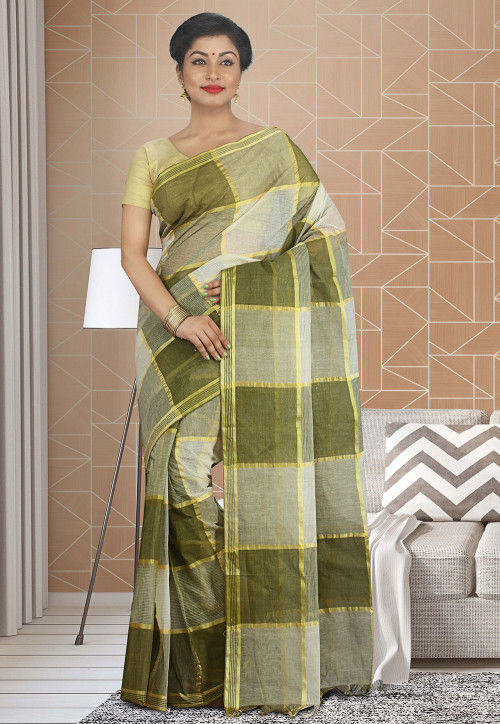 Handloom Cotton Silk Tant Saree in Olive Green