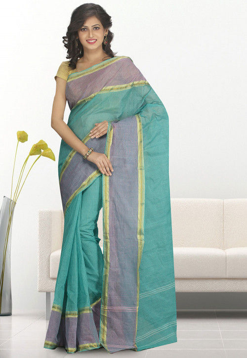 Handloom Cotton Tant Saree in Light Blue