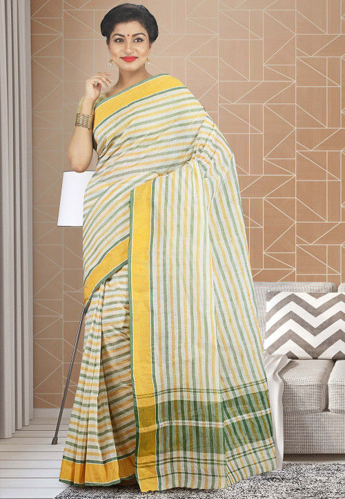 Handloom Cotton Tant Saree in Off White
