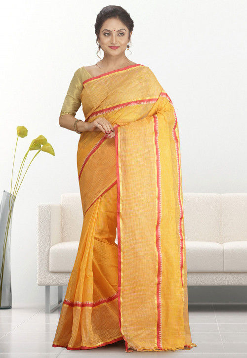 Handloom Cotton Tant Saree in Orange
