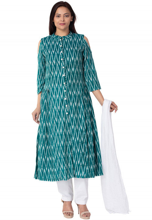 Ikat Cotton A Line Suit in Teal Green