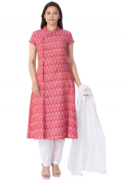 Ikat Woven Linen Cotton A Line Suit in Pink