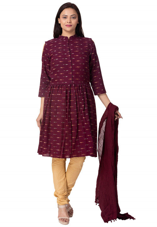 Ikat Printed Linen Cotton Straight Suit in Wine