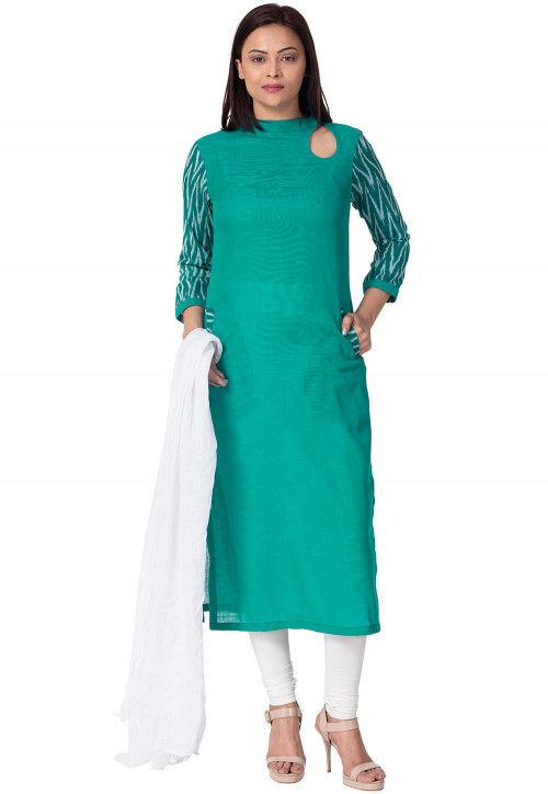 Ikat Printed Sleeve Cotton Slub Straight Suit in Teal Blue