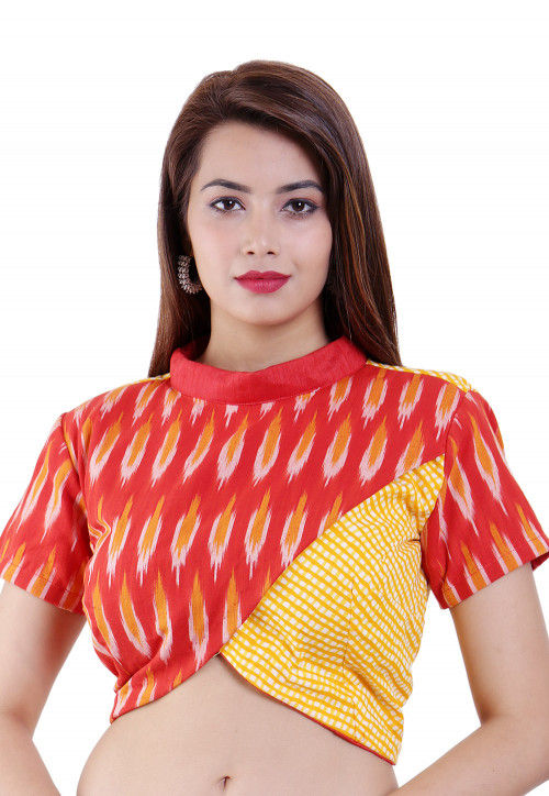 Ikat Woven Art Silk Padded Blouse in Red and Yellow