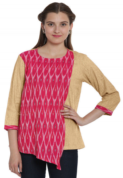 Ikat Woven Cotton Linen Top in Pink and Light Yellow