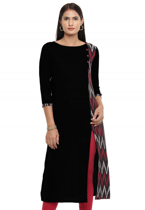 Ikat Woven Cotton Slub Straight Cut Kurta in Black