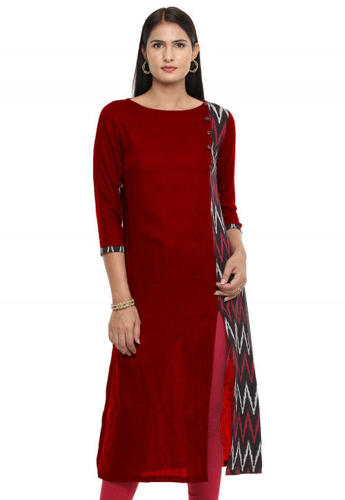 Ikat Woven Cotton Slub Straight Cut Kurta in Maroon and Black