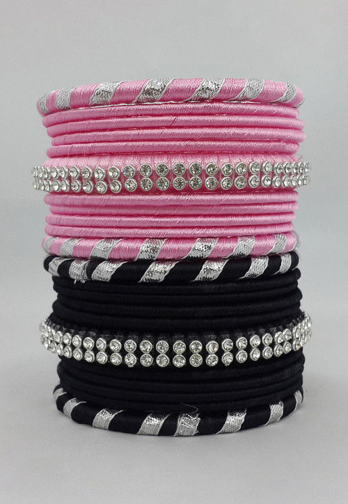 Gota Lace Bangle Set in Pink and Black