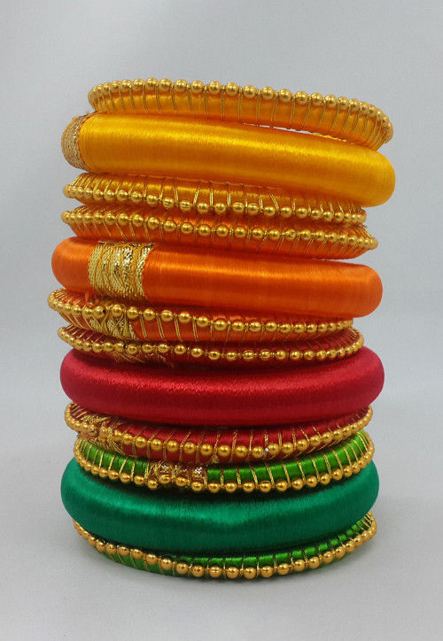 Beaded Bangle Set in Multicolor
