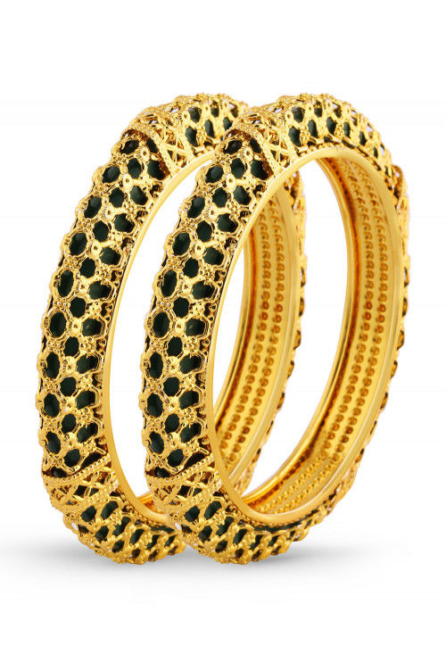Golden Polished Pair of Bangles
