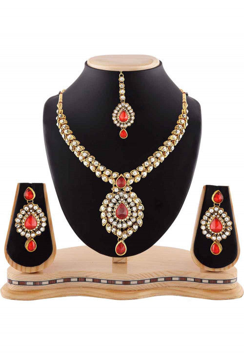 Stone Studded Necklace Set in Red and White